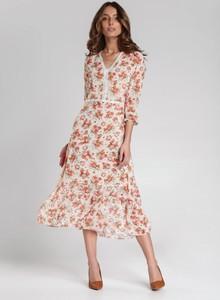 Różowa sukienka Renee z dekoltem w kształcie litery v maxi z długim rękawem