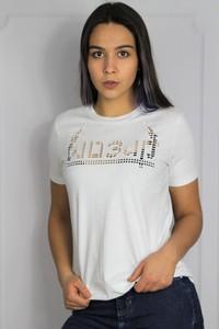 T-shirt Diesel z krótkim rękawem z bawełny z okrągłym dekoltem
