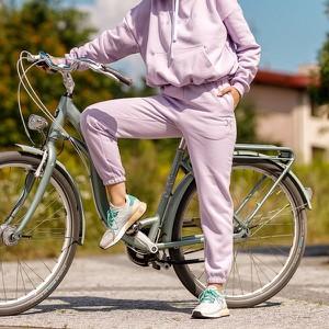 Fioletowe spodnie sportowe DKDreskod z bawełny