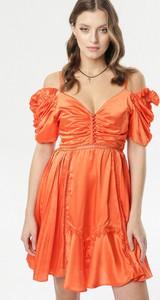 Pomarańczowa sukienka born2be mini z krótkim rękawem z dekoltem w kształcie litery v