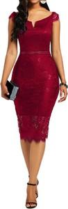 Czerwona sukienka Sandbella midi z krótkim rękawem ołówkowa