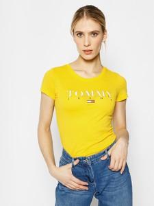 Żółty t-shirt Tommy Jeans z krótkim rękawem z okrągłym dekoltem