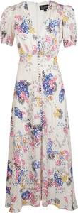 Sukienka Saloni z krótkim rękawem z dekoltem w kształcie litery v maxi