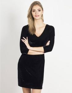 Czarna sukienka Ivon mini z dekoltem w kształcie litery v z długim rękawem