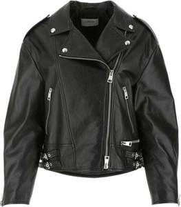 Czarna kurtka MaxMara krótka bez kaptura w rockowym stylu