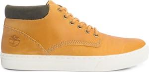 "Żółte buty zimowe Timberland Buty ""cupsole Chukka"" ze skóry sznurowane"