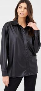Czarna koszula V by Very ze skóry ekologicznej