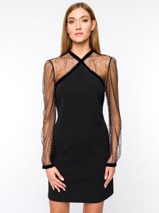 Czarna sukienka Silvian Heach mini trapezowa z dekoltem w kształcie litery v