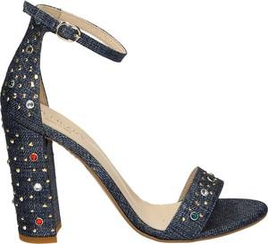 Granatowe sandały Venezia ze skóry z klamrami