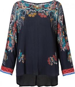 Bluzka Desigual z długim rękawem z okrągłym dekoltem