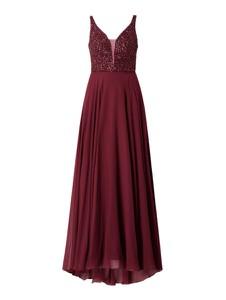 Czerwona sukienka Unique na ramiączkach z szyfonu