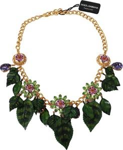 Dolce & Gabbana Floral Crystal Charm Brass Statement Necklace