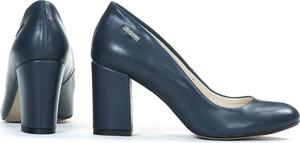 Niebieskie czółenka Zapato ze skóry na wysokim obcasie