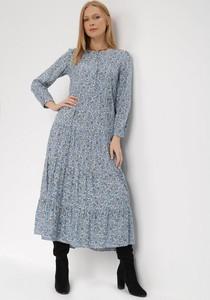 Niebieska sukienka born2be z okrągłym dekoltem z długim rękawem