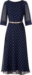 Niebieska sukienka Poza z długim rękawem z tkaniny midi
