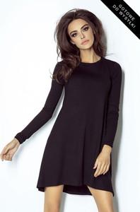Granatowa sukienka Ivon oversize w stylu casual z długim rękawem