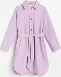 Fioletowa kurtka Reserved długa w stylu casual