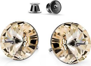 GIORRE SREBRNE KOLCZYKI SWAROVSKI RIVOLI 10 MM 925 : Kolor kryształu SWAROVSKI - Light Silk, Kolor pokrycia srebra - Pokrycie Czarnym Rodem