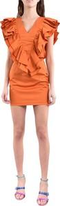 Pomarańczowa sukienka Actualee z krótkim rękawem z dekoltem w kształcie litery v