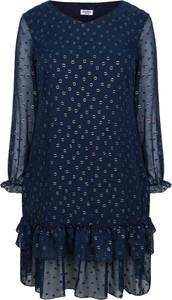 Niebieska sukienka KARKO oversize z długim rękawem z okrągłym dekoltem