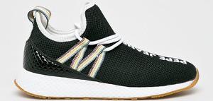 Czarne buty sportowe Pepe Jeans z płaską podeszwą w geometryczne wzory sznurowane