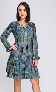 Sukienka Semper w stylu etno z długim rękawem mini