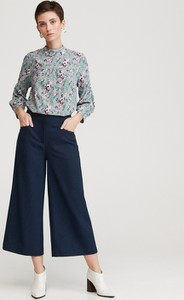 Granatowe spodnie Reserved w stylu retro
