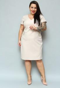 Sukienka KARKO z krótkim rękawem midi z dekoltem w kształcie litery v