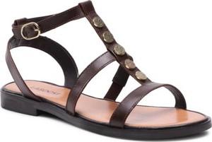 Brązowe sandały Lasocki w stylu casual ze skóry