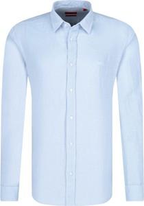 Koszula Hugo Boss z lnu z długim rękawem