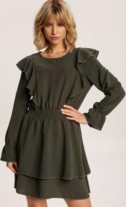 Zielona sukienka Renee z długim rękawem mini z okrągłym dekoltem