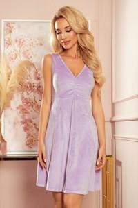 Fioletowa sukienka NUMOCO bez rękawów z dekoltem w kształcie litery v