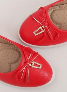 Czerwone baleriny Funkee.pl w stylu casual ze skóry ekologicznej z płaską podeszwą