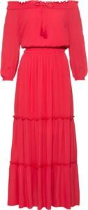 Czerwona sukienka bonprix BODYFLIRT z długim rękawem