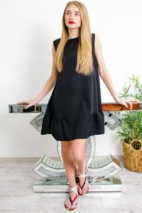Czarna sukienka Olika z okrągłym dekoltem bez rękawów mini