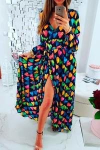Sukienka Ivet.pl kopertowa z dekoltem w kształcie litery v w stylu casual