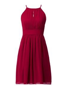 Czerwona sukienka Swing rozkloszowana bez rękawów z szyfonu