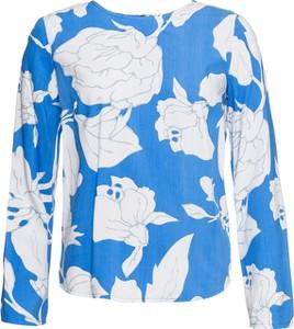 Niebieska bluzka bonprix BODYFLIRT z okrągłym dekoltem z długim rękawem w stylu casual