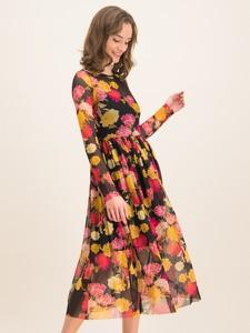 Sukienka iBlues w stylu boho z długim rękawem rozkloszowana