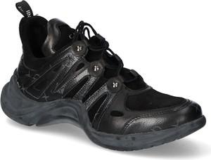 Czarne buty sportowe Carinii sznurowane ze skóry