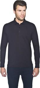 Czarna koszulka polo Recman z długim rękawem