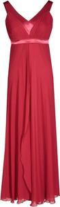 Czerwona sukienka Fokus rozkloszowana z dekoltem w kształcie litery v