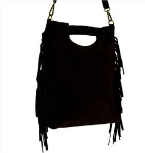 Czarna torebka Borse in Pelle na ramię średnia z zamszu
