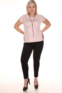 Różowa bluzka Fokus z krótkim rękawem w stylu casual z okrągłym dekoltem
