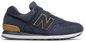 Granatowe buty sportowe New Balance ze skóry sznurowane 574