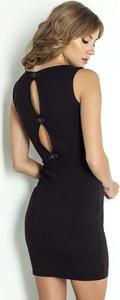 Czarna sukienka Ivon z okrągłym dekoltem