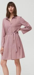 Różowa sukienka Mohito w stylu casual z długim rękawem mini