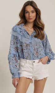 Niebieska bluzka Renee z dekoltem w kształcie litery v