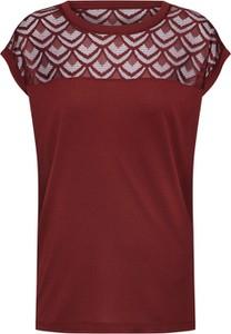 Czerwona bluzka Only z dżerseju z okrągłym dekoltem
