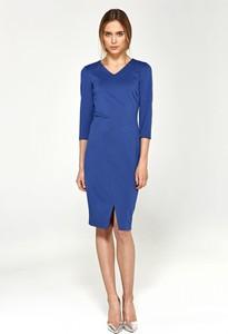 Niebieska sukienka Nife z długim rękawem z dekoltem w kształcie litery v